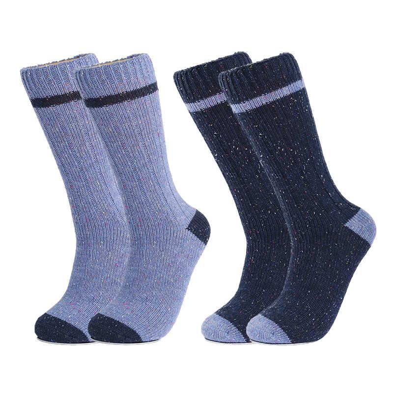 ผ้าขนสัตว์ Merino ถุงเท้าผู้ชาย Upscale สีจุดแบรนด์ฤดูใบไม้ร่วงฤดูหนาว Warm การบีบอัด Coolmax นุ่มๆ Plus ขนาดชายถุงเท้าถุงเท้า 2PK