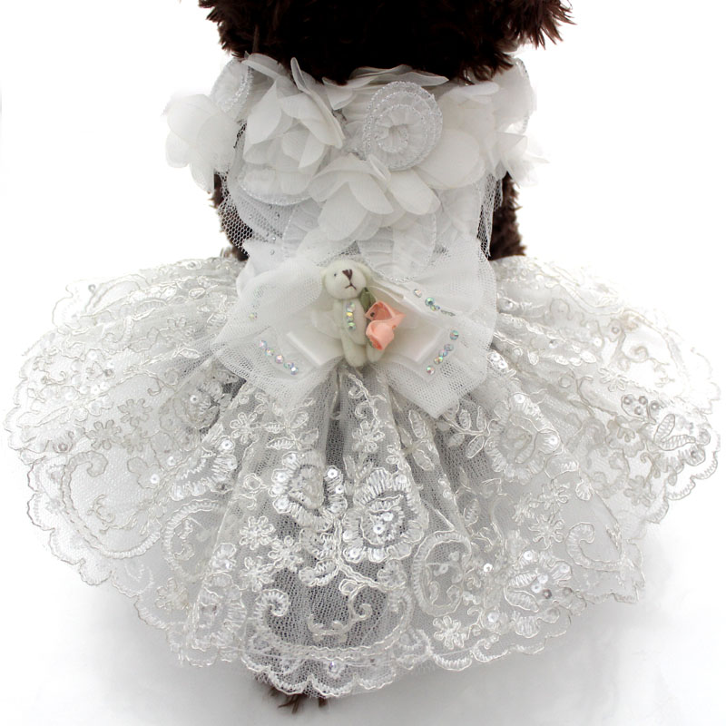 Dog Cat Luxurious Wedding Princess dress Pet Puppy skirt clothes apparel Flowers design 5 sizes available