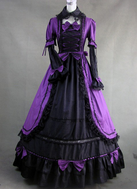 18th Century Victorian Purple and Black Cotton Gothic Prom Dress-in ...