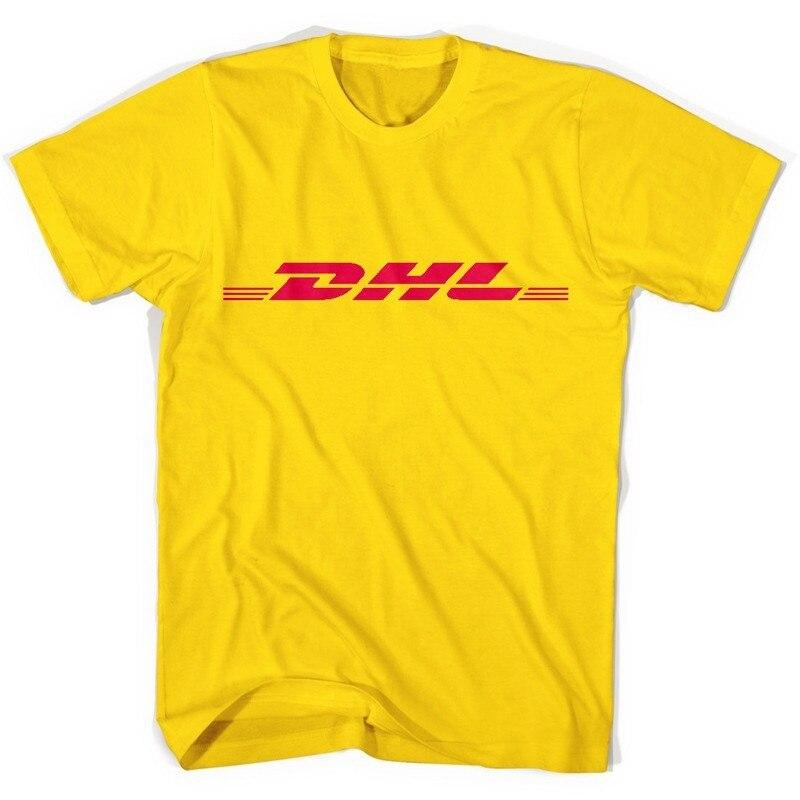 PUDO-XSXSummer 100% Cotton DHL T Shirts Letters Logo Printed Yellow Short Sleeve Casual Mens O Neck Shirts Funny T-shirt