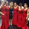 Длинные Вечерние Платья 2017 Дешевые Красный V Шеи Аппликации Танк Русалка Свадебные Платья Плюс Размер vestidos para festa
