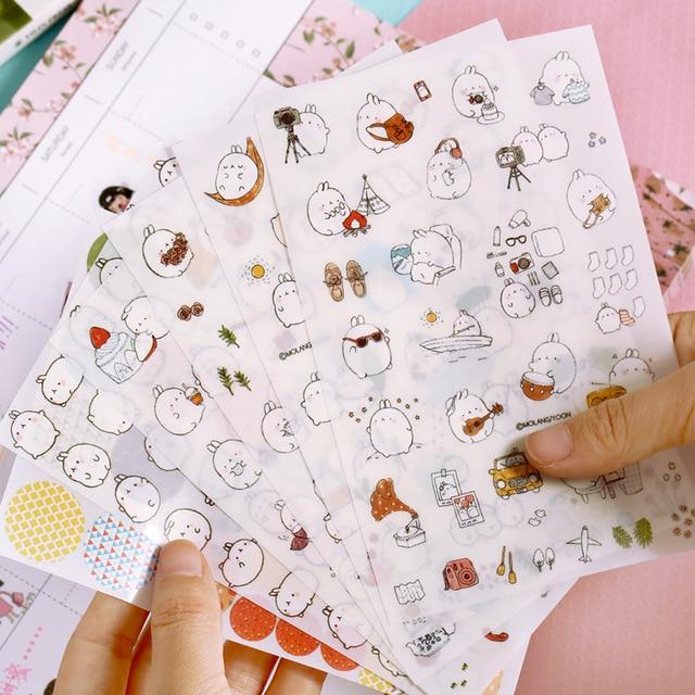 6 unids/pack Nueva Corea creativo dibujos animados de patata conejo Ii de Halloween de La etiqueta engomada del Pvc conjunto Kawaii etiqueta