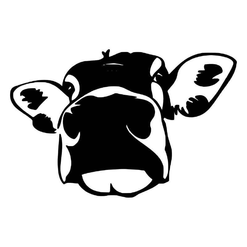 13.9*9.1 センチメートルおかしい牛ビッグフェイス車のステッカー興味深い装飾デカールカースタイリングステッカー黒/シルバー S1-2644