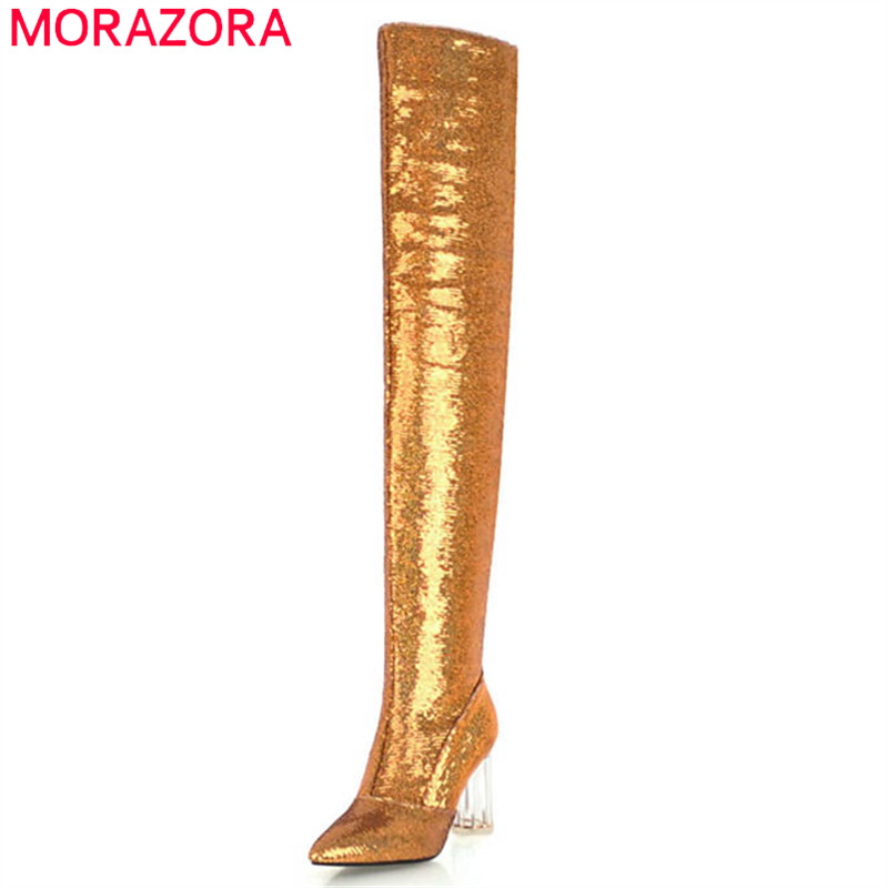 MORAZORA 2018 new fashion sequined cloth over the knee boots women pointed toe high heels prom shoes autumn winter boots female MORAZORA 2018 new fashion sequined cloth over the knee boots women pointed toe high heels prom shoes autumn winter boots female