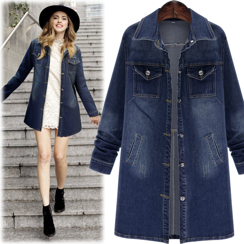 2018 Autumn Winter Women Denim Jacket Long Sleeve Length Denim   Coat   For Women Jeans Jacket Plus Size Outwear Large size 5XL