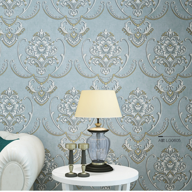 3D Non-woven Wallpaper Damask European Vintage Wallpaper Wall Covering Paper for Backdrop Textured Wall Paper Home Decor modern linen wall paper designs beige non woven 3d textured wallpaper plain solid color wall paper for living room bedroom decor
