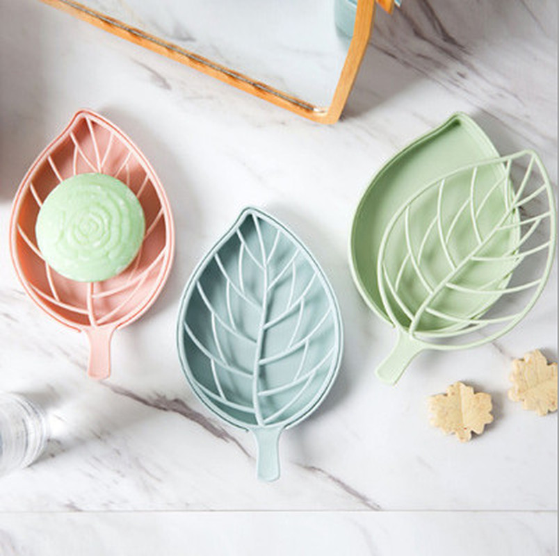 1PC Double Layer Leaf Shape Drain Soap Box Soap Storage Container Portable Leaf Modeling Soap Dishes Holder Bathroom Supplies