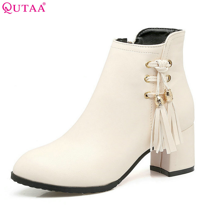 QUTAA 2018 Women Ankle Boots Flock Pu Leather Round Toe Square High Heel Tassel Fashion All Match Women Boots Size  34-43 nemaone 2018 women ankle boots pu leather square high heel round toe zipper sweet boots all match ladies boots size 34 43