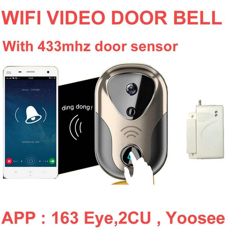 1 Set vidéo porte interphone caméra WiFi IP caméra sans fil alarme sonnette 163Eye HD visuel interphone WiFi porte cloche porte cctv caméra