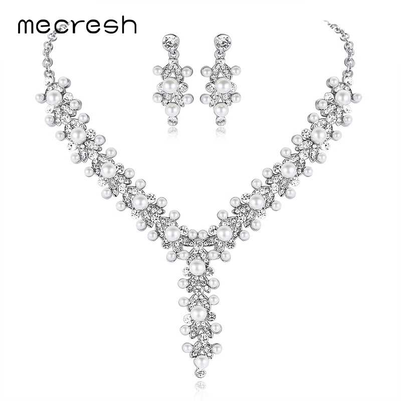 Mecresh Luxury Simulated Pearl Bridal Jewelry Sets Silver Color Statement Necklace Sets Indian Wedding Jewelry For Women MTL514