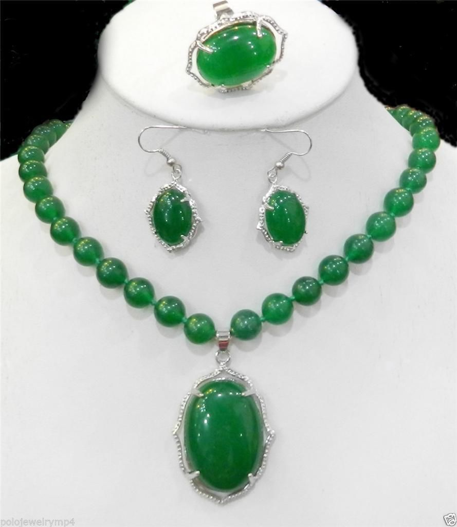 New Jewelry Charming Green Natural stone Necklace Ring Earring set>AAA GP Plated gold Bridal wide watch wings queen JEWE