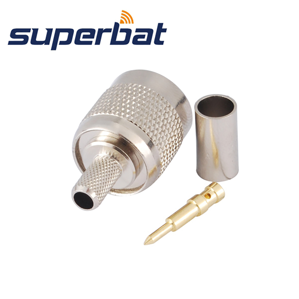 Superbat 10pcs Free Shipping TNC Crimp Plug Male RF Coaxial Connector For Cable RG58 RG142,LMR195