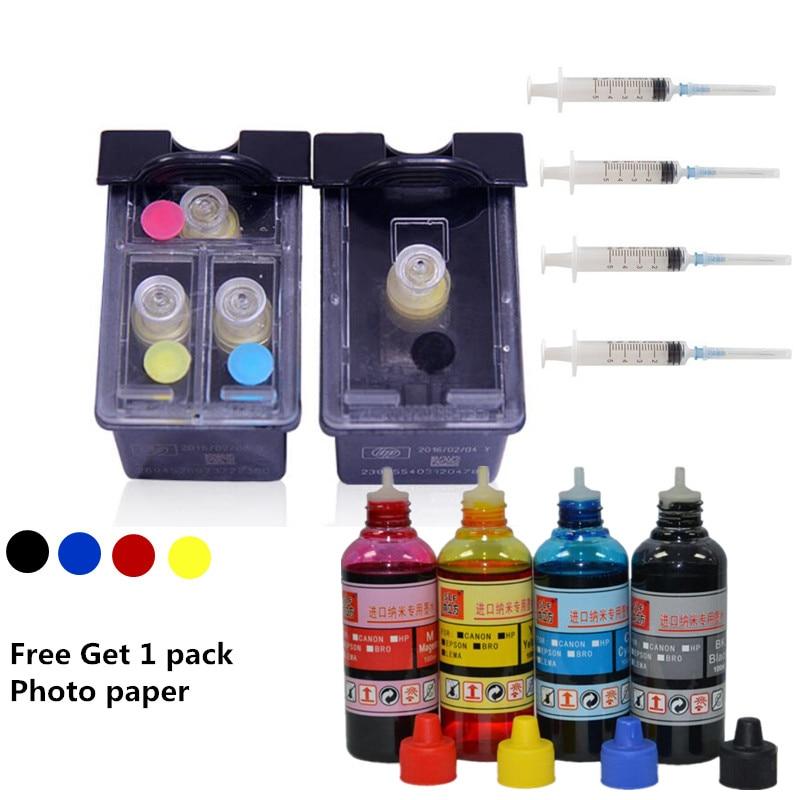 Nouveau remplacement de cartouche d'encre rechargeable pour hp 901 XL + 1 set 4 couleurs d'encre pour hp Officejet 4500 4600 J4550 J4580 J4680