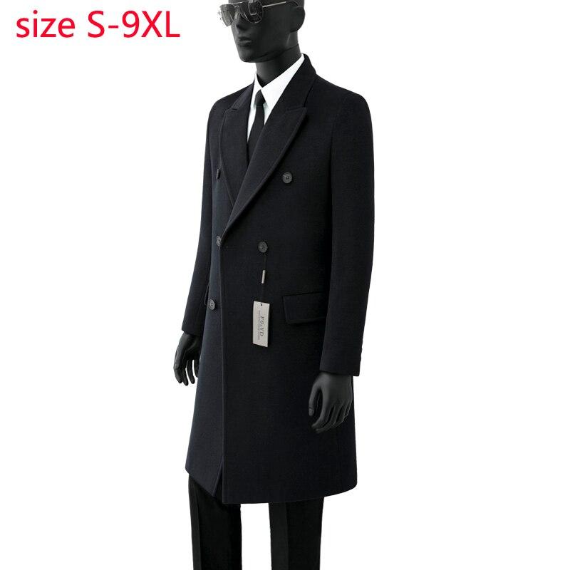 Erkek Kıyafeti'ten Yün ve Karışımları'de 2019 Yeni Varış Yüksek Kaliteli Sonbahar Yün Palto Çift Breasted Coat Erkekler Moda Trendi Rahat Kalın Süper Büyük Boyutu S 8XL9XL'da  Grup 1