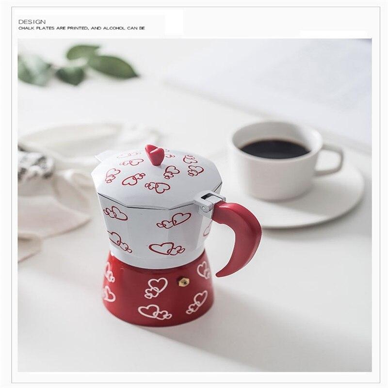 ITAX-8823 European printing Italian mocha pot hand to share pot filter pot aluminum home coffee pot