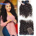 Indian water wave virgin hair 4 bundles with lace closure 6a human hair weave water wave vip beauty Indian virgin hair