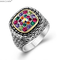 Trendy Fashion Jewelry for women cocktail prom birthday Gift Multi Color 925 Sterling Silver Ring R1218