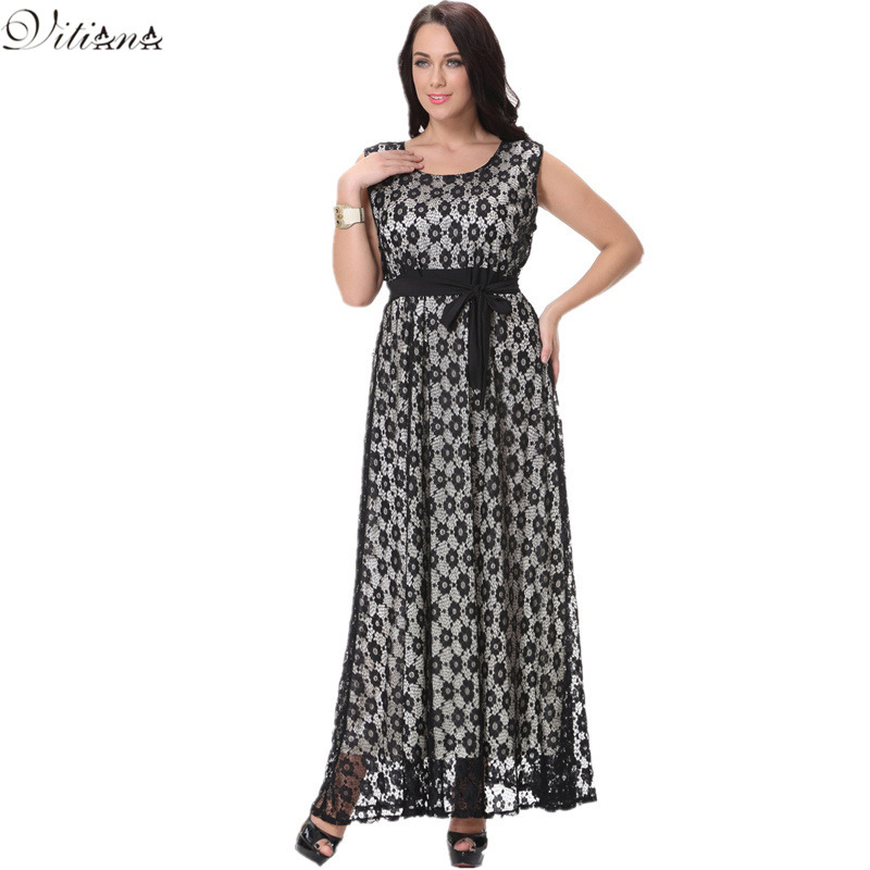2017 Womens Elegant Lace Party Dress Big Large Sizes Black Sexy Maxi Long Dresses With Belt Plus Size 6XL 7XL Vestidos 7001