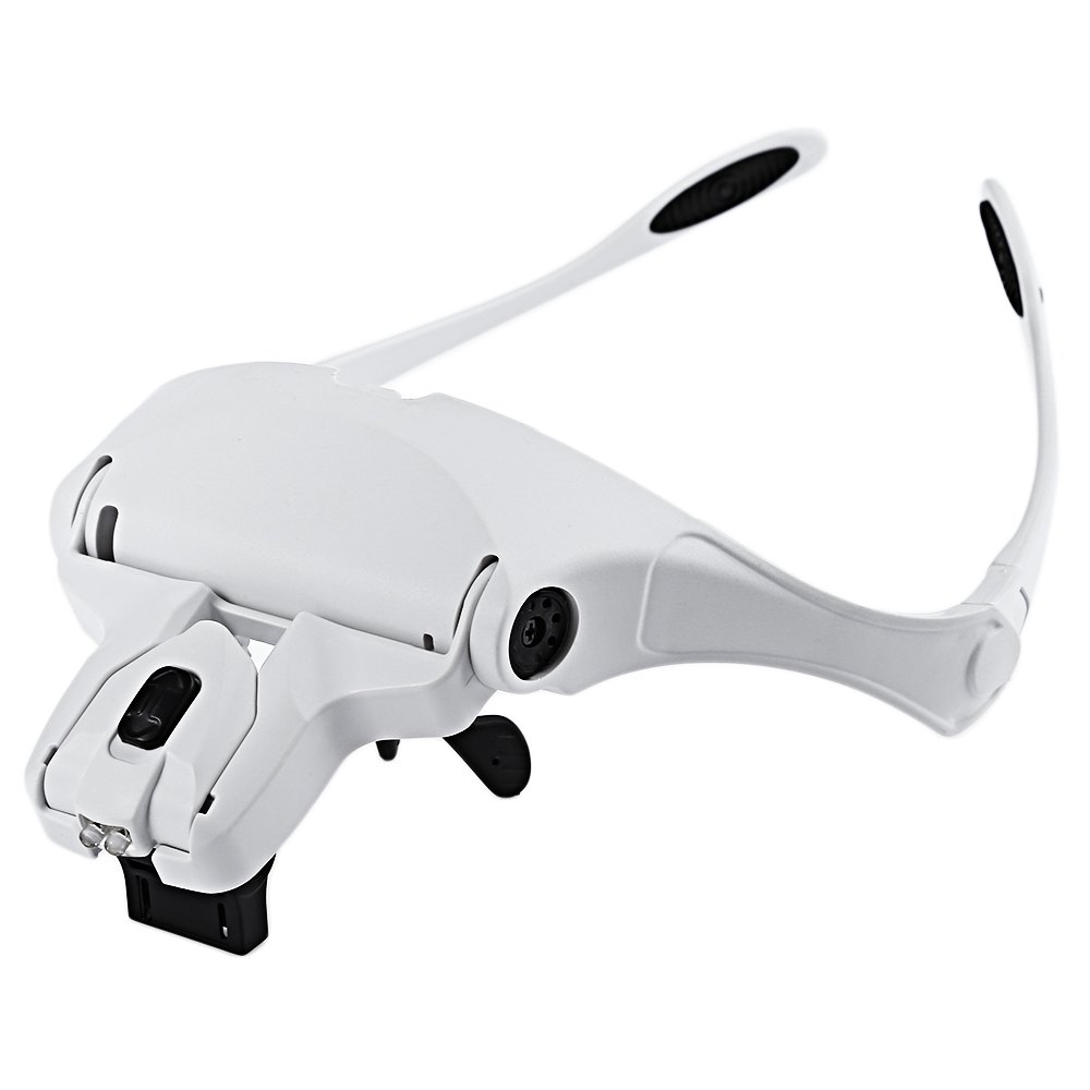 <font><b>Glasses</b></font> Magnifier Interchangeable Magnifying <font><b>Glass</b></font> With LED Lights Multiple Lens Bracket And Headband Applied In Beauty Makeup