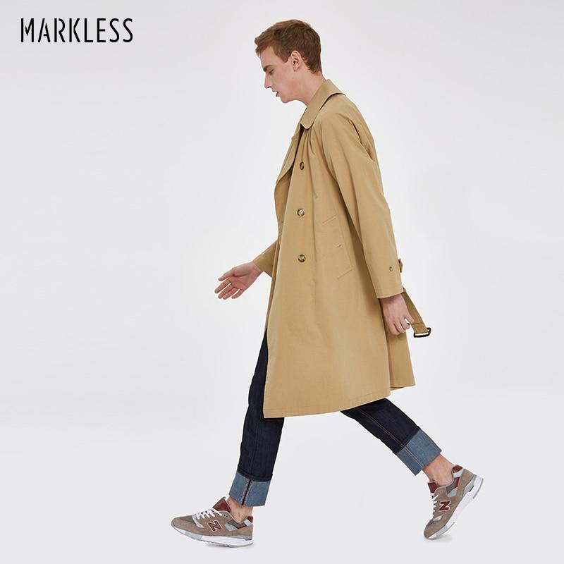 Markless 2018 Autumn Men Trench Coat Fashion Long Trench Jacket Erkek Mont Casaco Masculino Windbreaker Coat With Belt WTA8154M