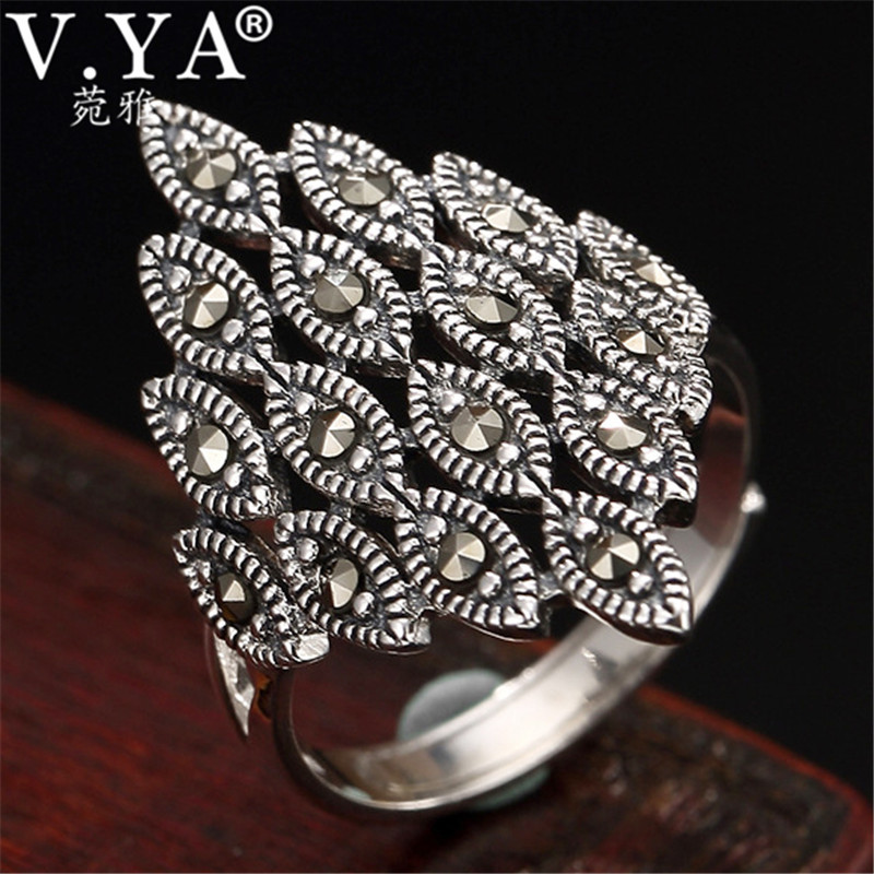 V.YA Retro Silver Marcasite Ring for Women Adjustable 925 Sterling Silver Rings Lady Femme Fashion Jewelry Wholesale|Rings|   - AliExpress