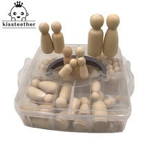 52pcs עץ פג בובות מייפל לא צבוע ילדים יום הולדת מתנות בעבודת יד גמור חתונות עוגת בובות בובות דקור בקיעת שיניים צעצועי סט