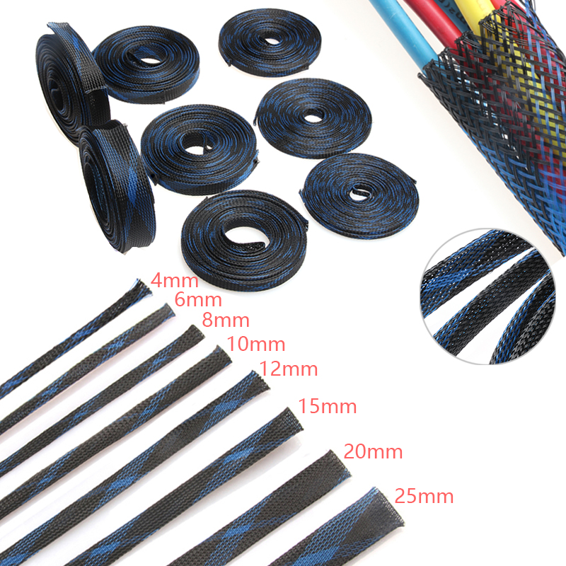 Blue&Black Insulation Braided Sleeving 4/6/8/10/12/15/20/25mm Tight PET Expandable Cable Sleeves Wire Gland Cables Protection