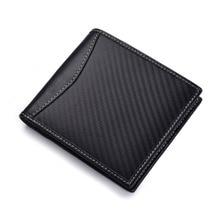 Black Men's Carbon Fiber Credit Card Holder Wallet Bifold ID Cash Coin Purse Clutch Fashion 11x9.8x1.5cm