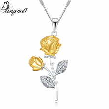 Lingmei New Cocktail Wedding Fashion Rose Flower Silver Pendant Necklace White & Yellow Zircon Two Tone Jewelry Women Gifts