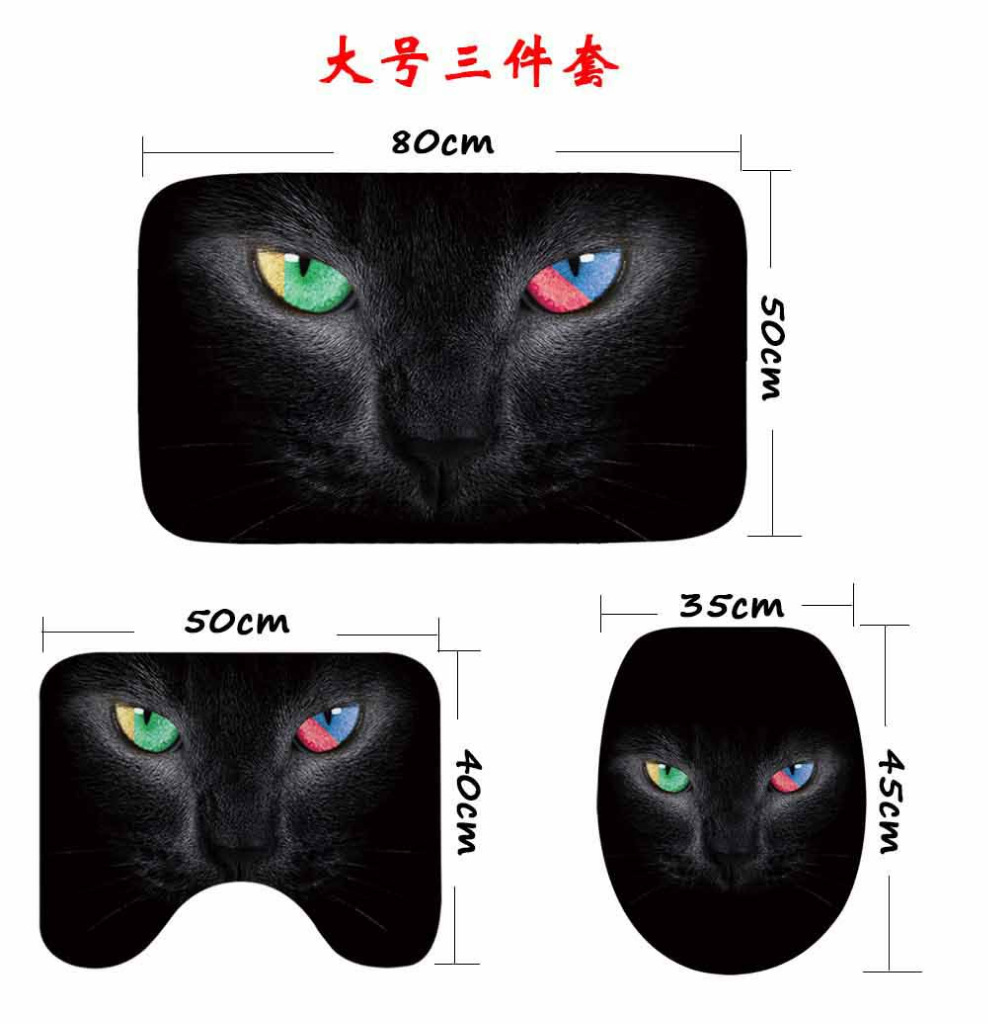 Image 3 - CAMMITEVER 3PCS/Set Cute Cats Shower Bath Mat Toilet Lid Cover Non Slip Mat Carpet Water Absorbent-in Rug from Home & Garden