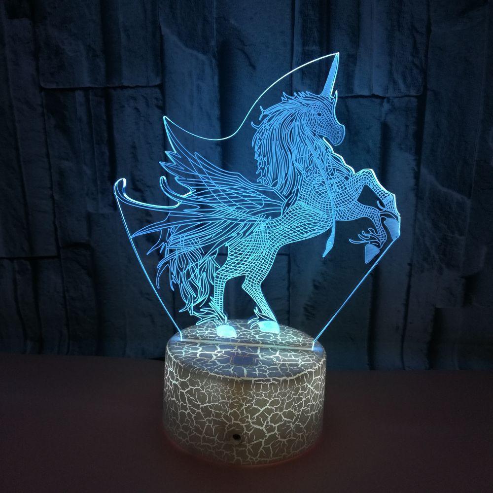 3D Unicorn Lamp LED Night Light Table Desk Home Decoration Christmas Xmas Gift
