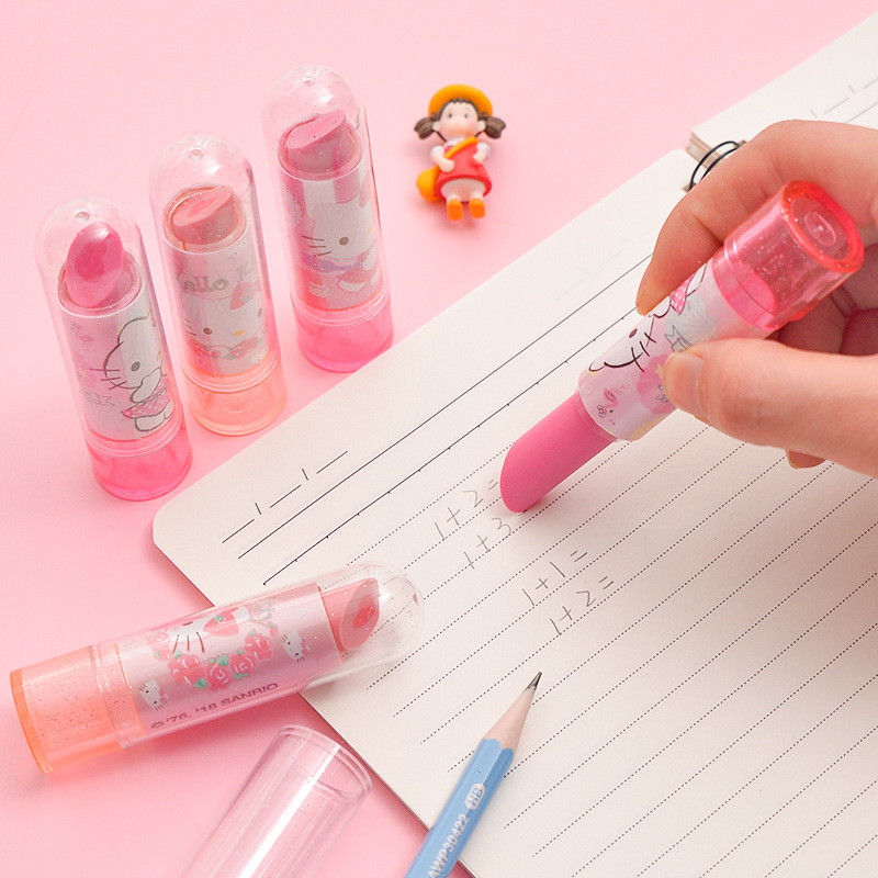 1pc Hello Kitty Cat Lipstick Eraser Rubber Creative Cute Student Kindergarten Eraser For Kids Kawaii Stationery School Supplies