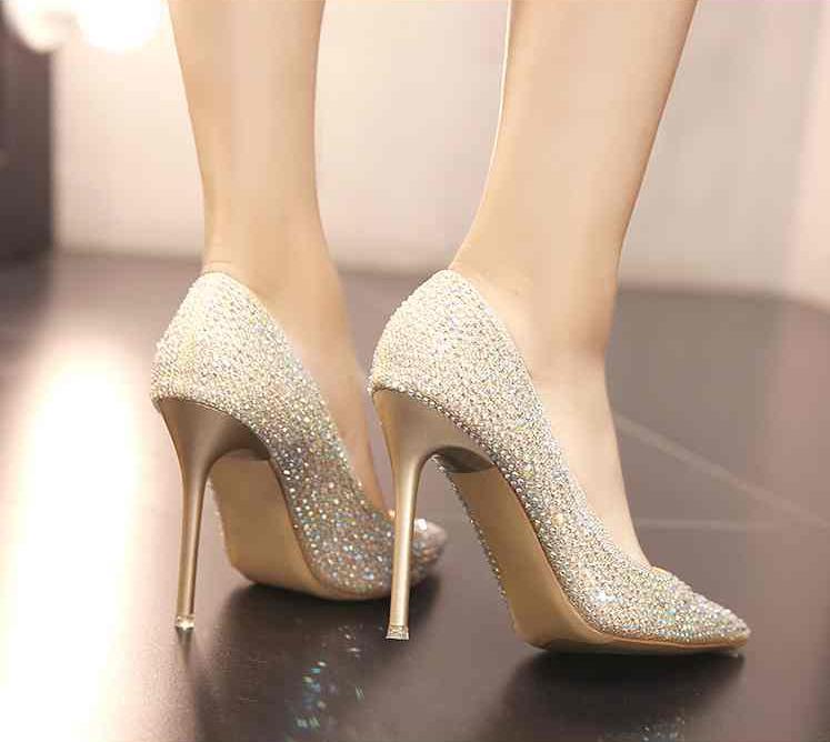 Da Scarpe Perla Gli Oro Uniti Tacchi L'europa Singole Alti Testa Diamante argento Tonda Bianco Ferro Stati Con Sposa E Stella Belle xSpqXTq