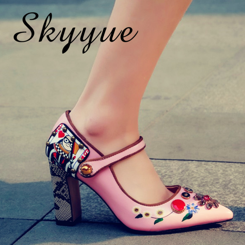 SKYYUE New Genuine Leather Printed Floral Mary Janes Ladies Pumps buckle strap Jewel High Heels Shoes Wedding Party Dress Shoes frilled jewel neck printed tie belt dress