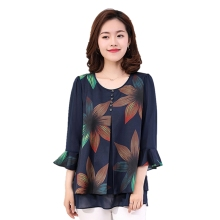 2018 summer butterfly sleeve Navy blue blouse women print flower shirt women plus size M-4XL fashion elegant female pullover top plus flower print flutter sleeve top