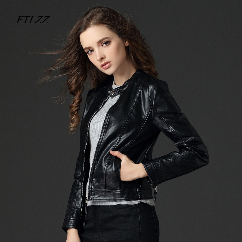 Ftlzz Spring Autumn Women Pu Leather Jacket Long Sleeve Casual