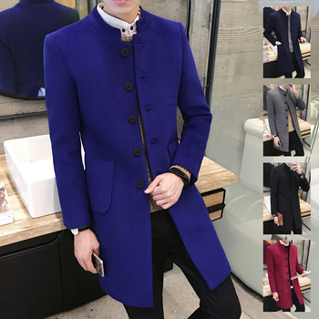 New 2019 Men's Boutique Fashion Pure Color Leisure In The Stand Collar Long Single-breasted Woolen Cloth Dust Coat / Mens Jacket 4
