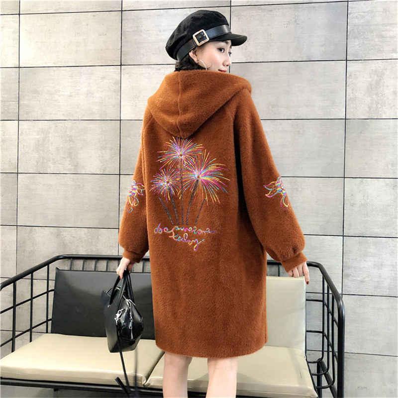プリントフード付きフェイクミンクの毛皮コートの女性のジャケット女性の秋の冬ふわふわ新韓国ルース厚いビロード上着暖かい f1303