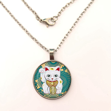 GDRGYB Maneki Neko Teal Lucky cat The necklace. Lucky cat symbols sign. Lucky cat symbols jewelry,Glass cobachon The necklace,