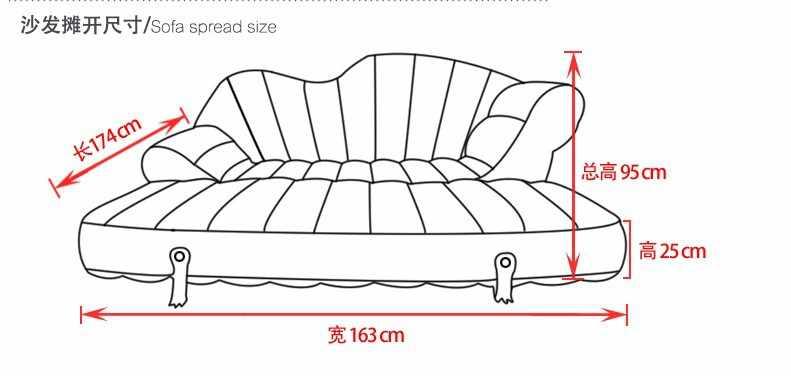 Reunindo sofá multifuncional cama de couro do plutônio do pvc, tamanho grande dobrável portátil do saco de feijão sofá do ar, pufe à prova d' água