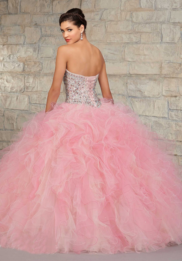 Luxury Beaded Corset Pink Puffy Quinceanera Dresses with Jaclet ...
