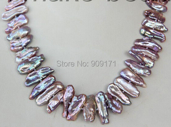 Free Shipping>>>>stunning big 23mm baroque biwa purple freshwater cultured pearl necklace