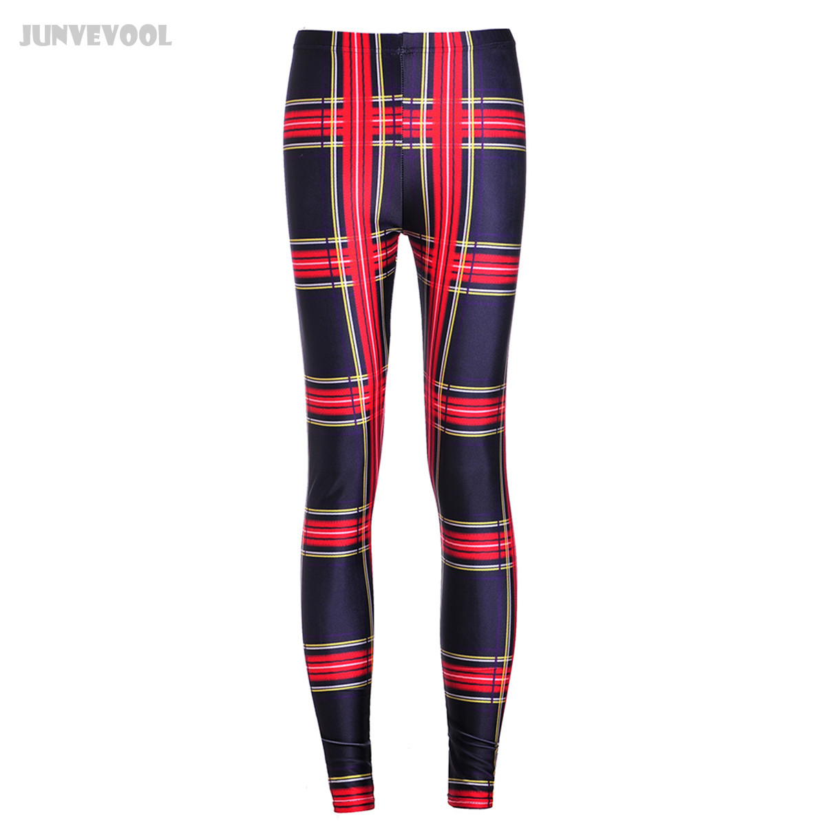 Women Leggings Galaxy Print Gyms Fitness Skinny Compression Slim Causal Dance Pants 3D Grid Yellow Red Striped Print Trousers