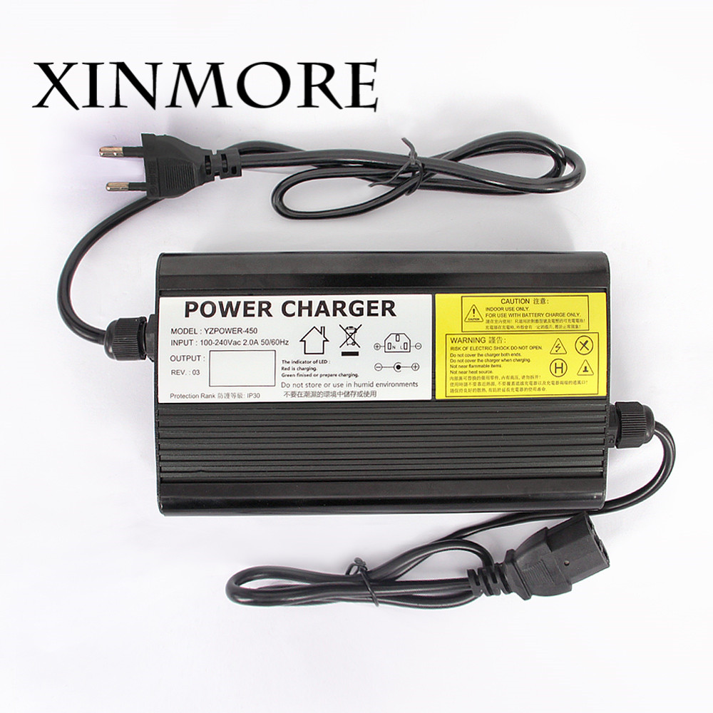 XINMORE 12.6V 20A 19A 18A 17A Lithium Battery Charger For 12V Ebike E-bike Li-Ion Lipo Battery Pack AC DC Power Supply