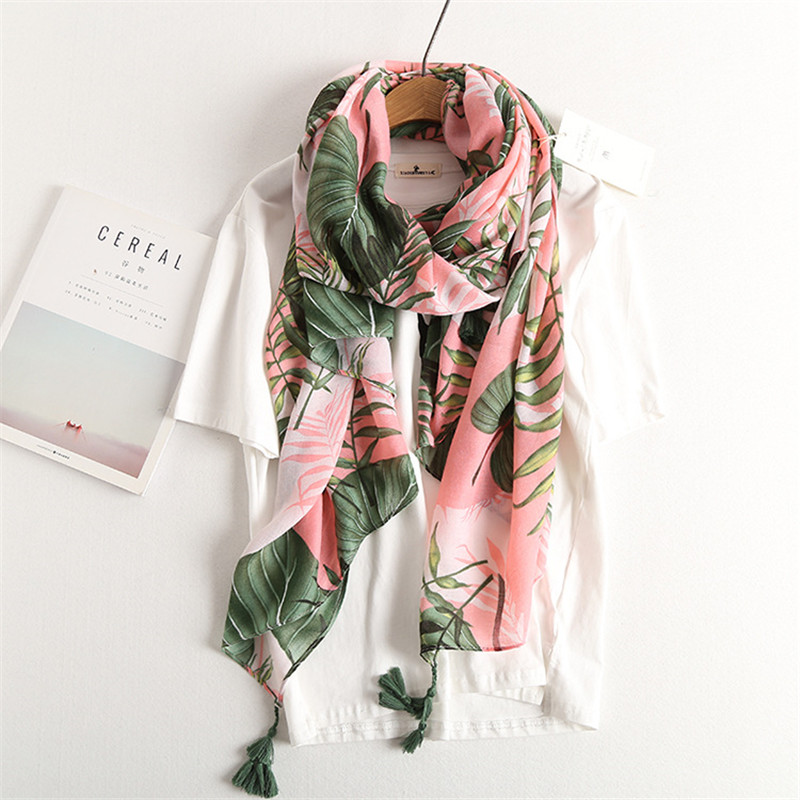 2019 bohemian scarf lotus leaf pattern scarves and shawls tassel long scarf summer sarong fashion muslim