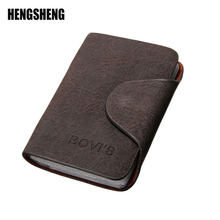 HENGSHENG Business Credit Card Holder Card Wallet Purse Credit Card Nubuck PU Leather Wallet Business Credit Card Unisex Holder(China)