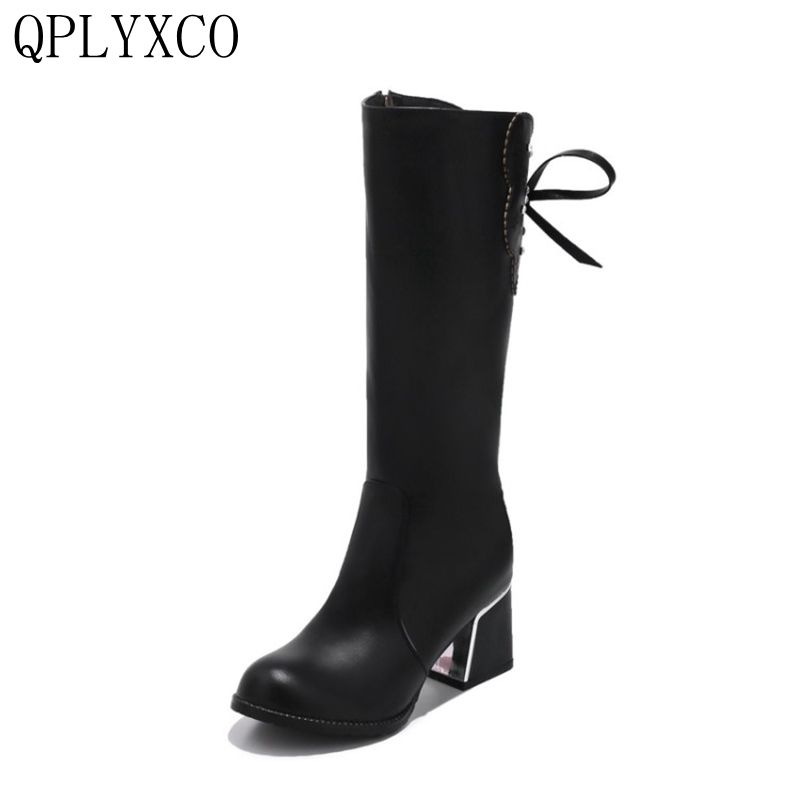 QPLYXCO New fashion big Size 30-52 Russian Ladies Mid-Calf Boots Winter Warm Short Plush long Boots Women high Heels Shoes 9120