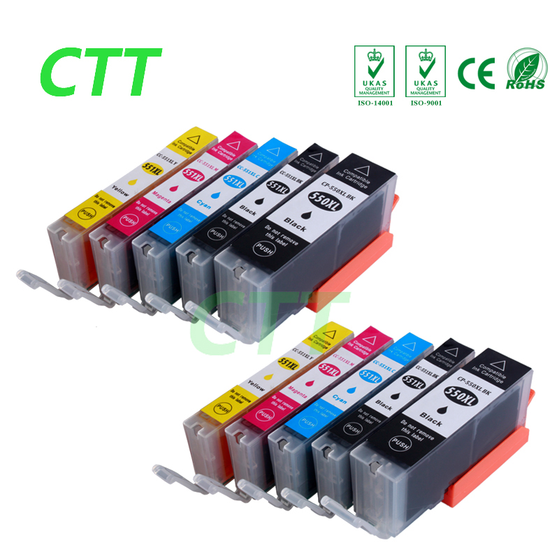 10 PCS ink cartridges compatible for Canon PGI550 CLI551 for IP7250 MG5450 MX925 MG5550 MG6450 MG5650
