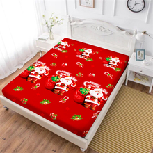 Merry Christmas Festival Gift Bed Sheet Red Green Santa Claus Fitted Cartoon Bedclothes Deep Pocket Mattress Cover D40