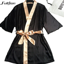 Fulljion Women Silk Satin Night Robe Solid Kimono Robe Bath Robe Sexy Bathrobe Peignoir Femme Wedding